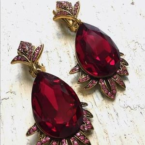 Oscar de la Renta pink firedrop crystal earrings